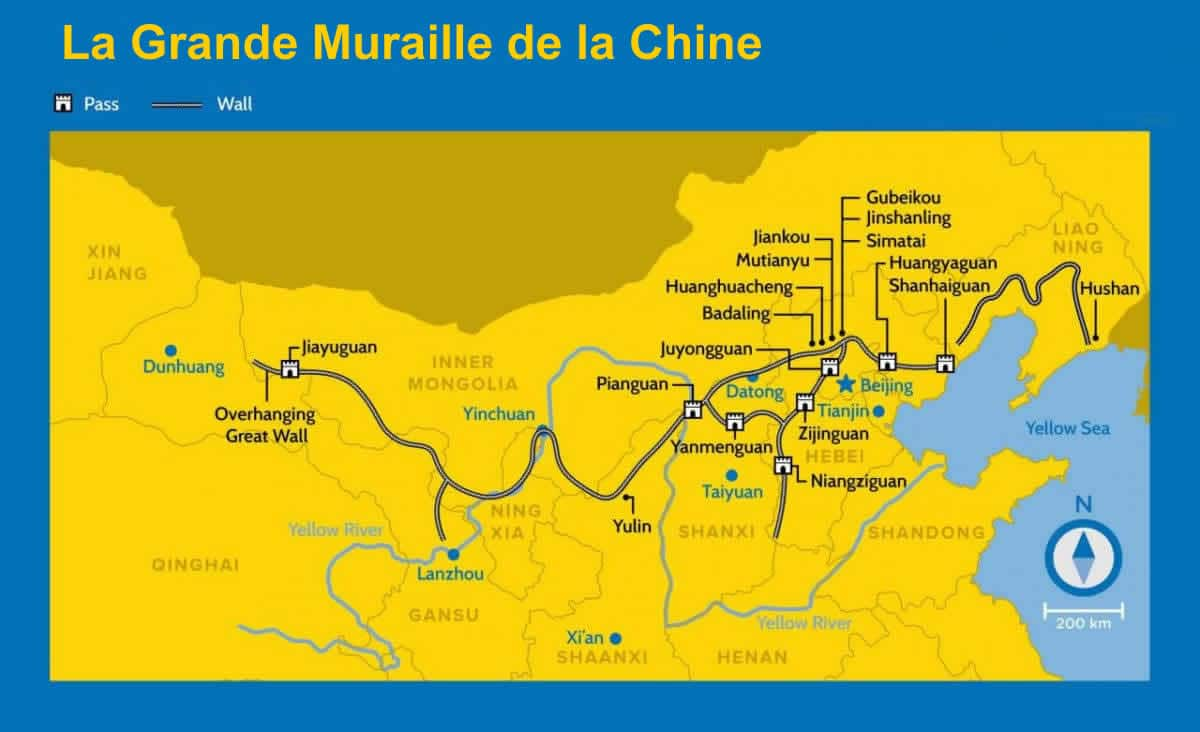 Carte de la grande muraille de la Chine