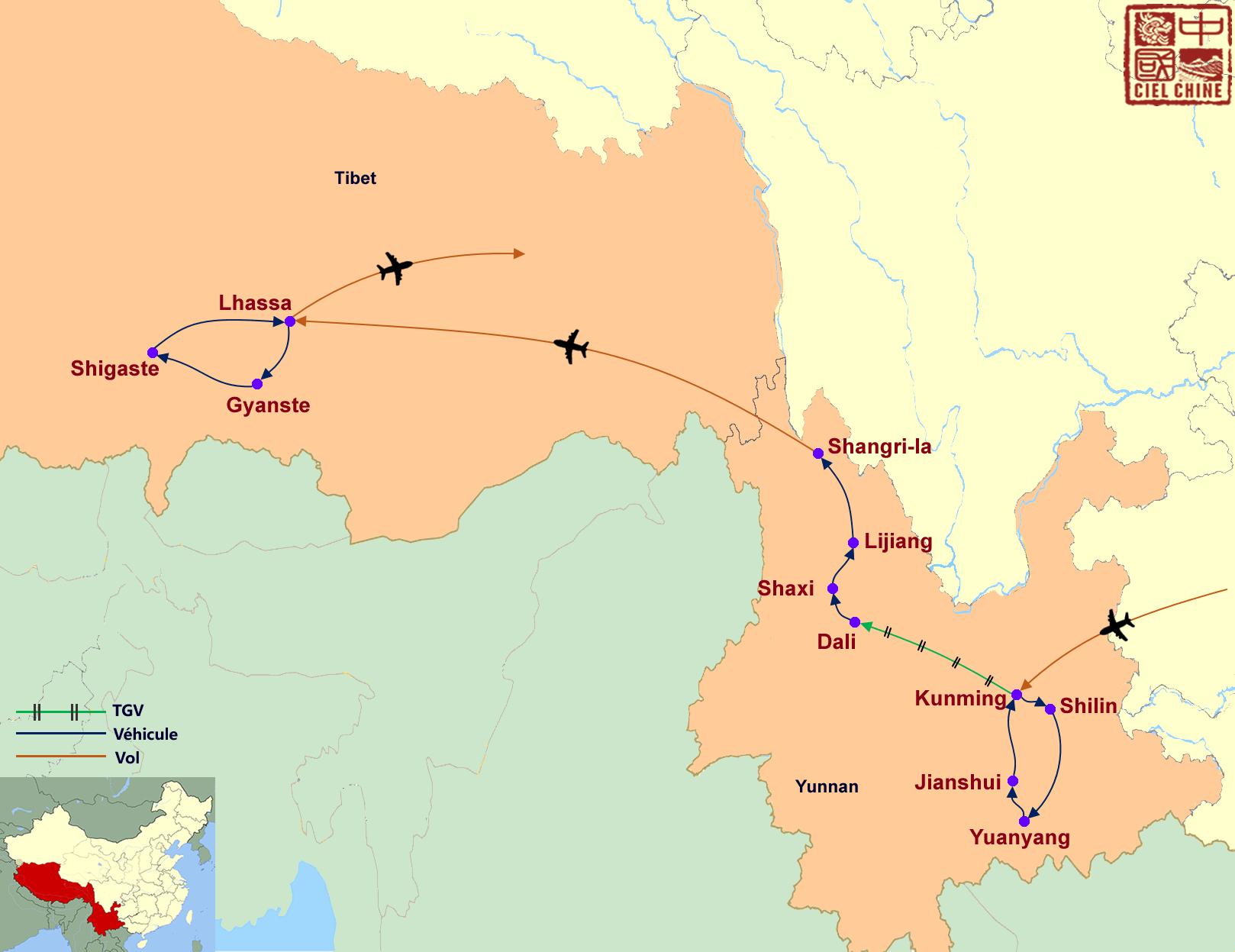 La carte du circuit aux confins de l'Hymalaya-deux semaines et plus