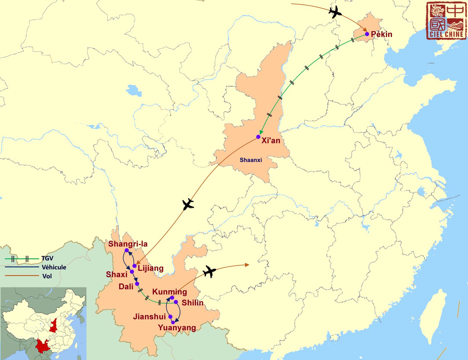 La carte du circuit de Chine impériale et minorités-deux semaines et plus