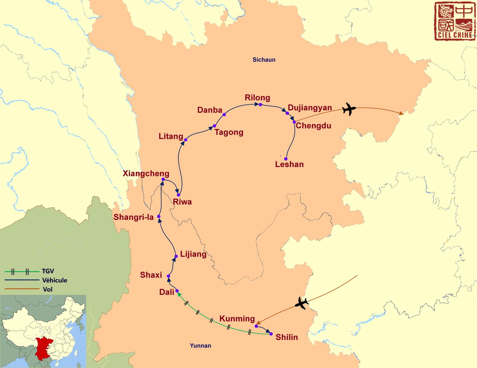 La carte du circuit de La grande région de Shangrila-deux semaines et plus
