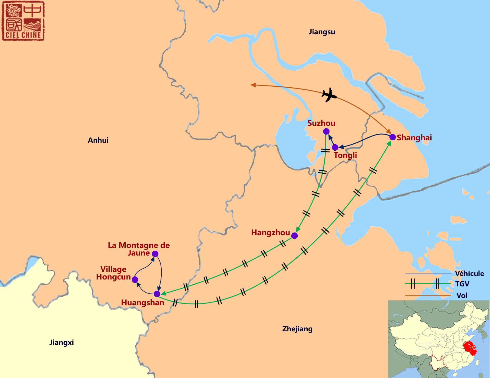 La carte du circuit de Shanghai, Hangzhou, Suzhou et Montagnes jaunes