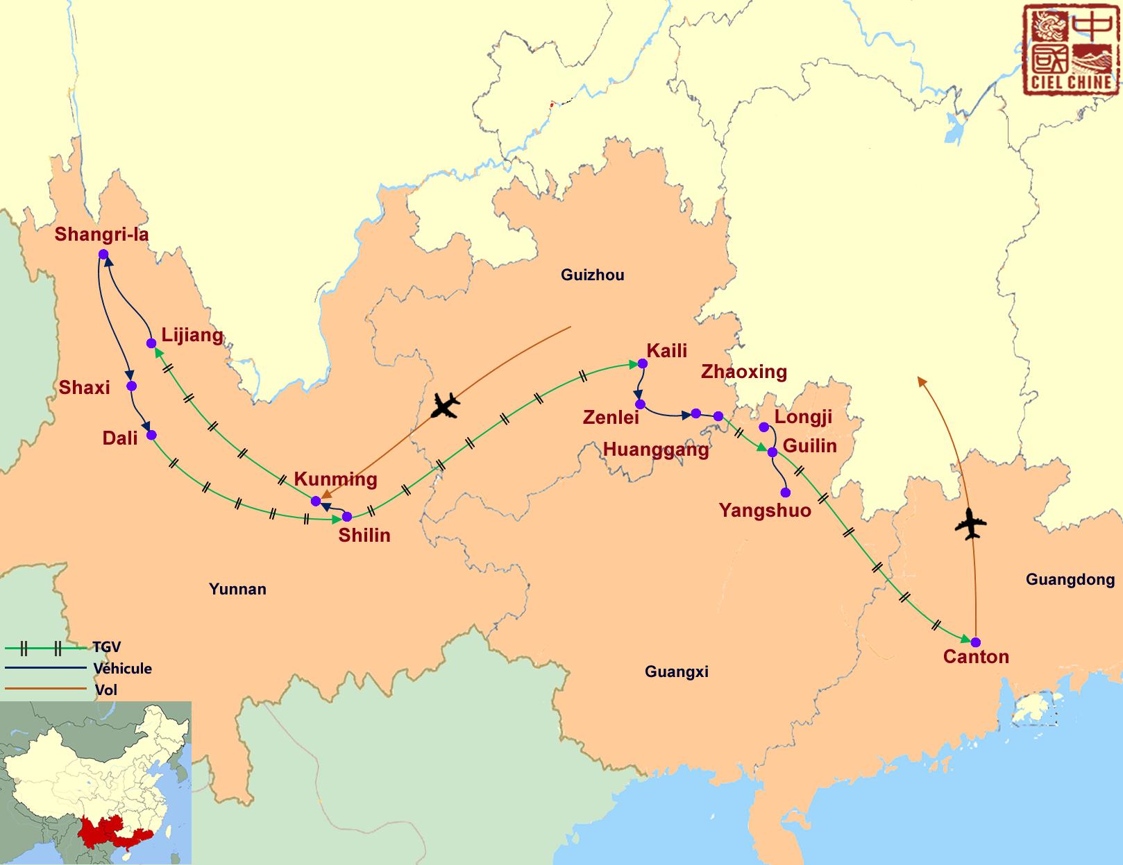 La carte du circuit de la Chine des minorités-deux semaines et plus