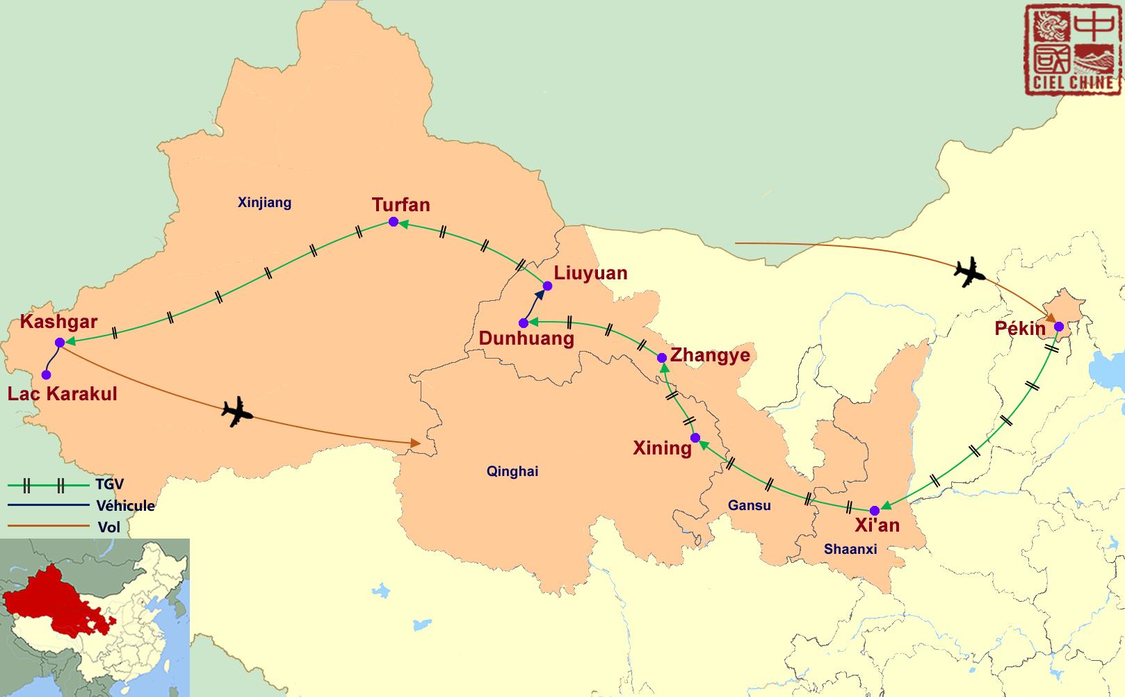 La carte du circuit de la route de la soie en Chine – De Kashgar à Xi'an-deux semaines et plus