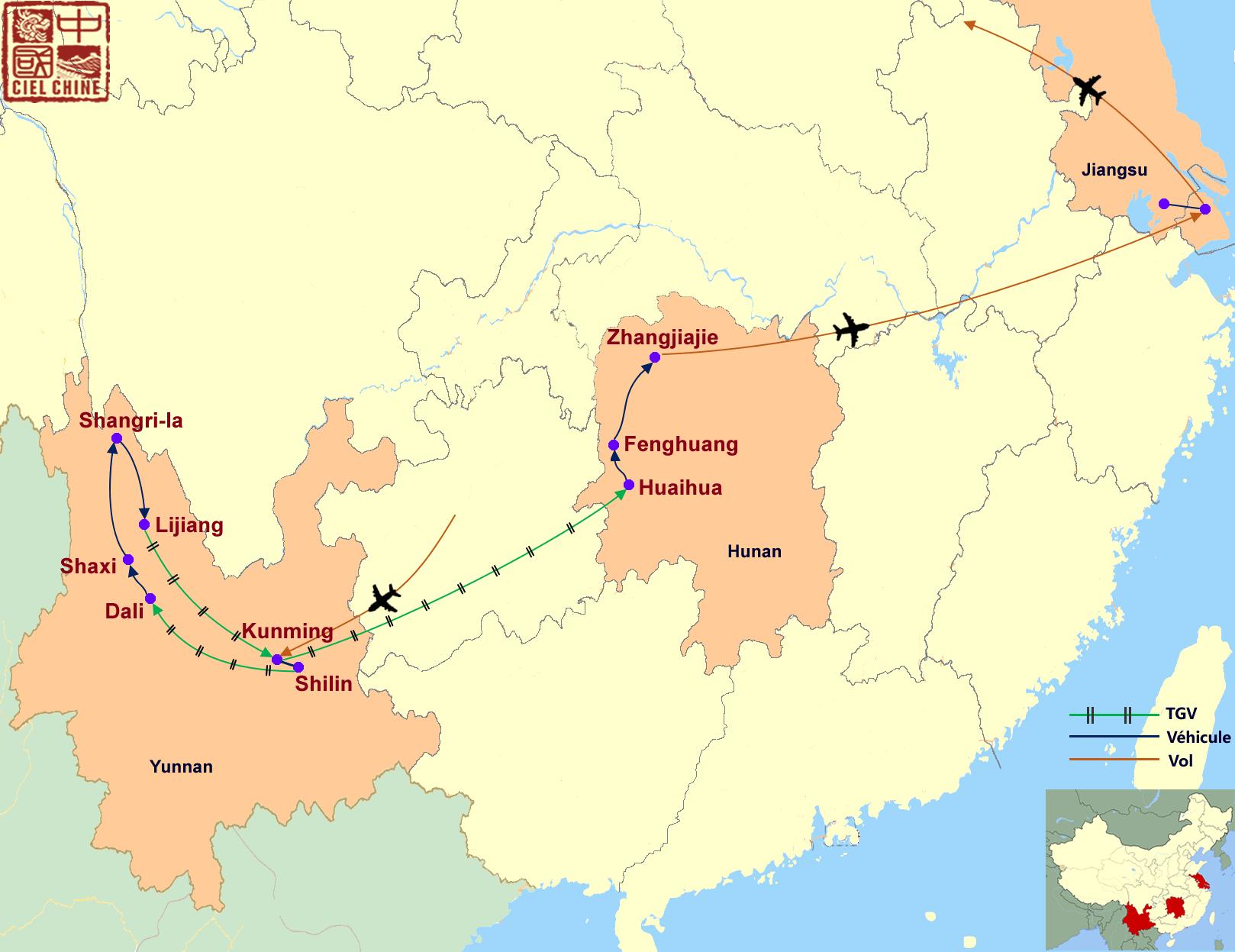 La carte du circuit des Diversités chinoises-deux semaines et plus
