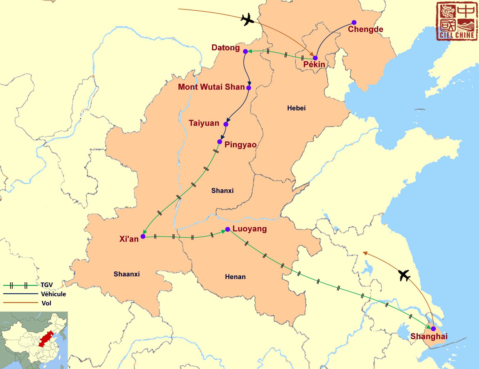 La carte du circuit des anciennes capitales Chinoises-deux semaines et plus