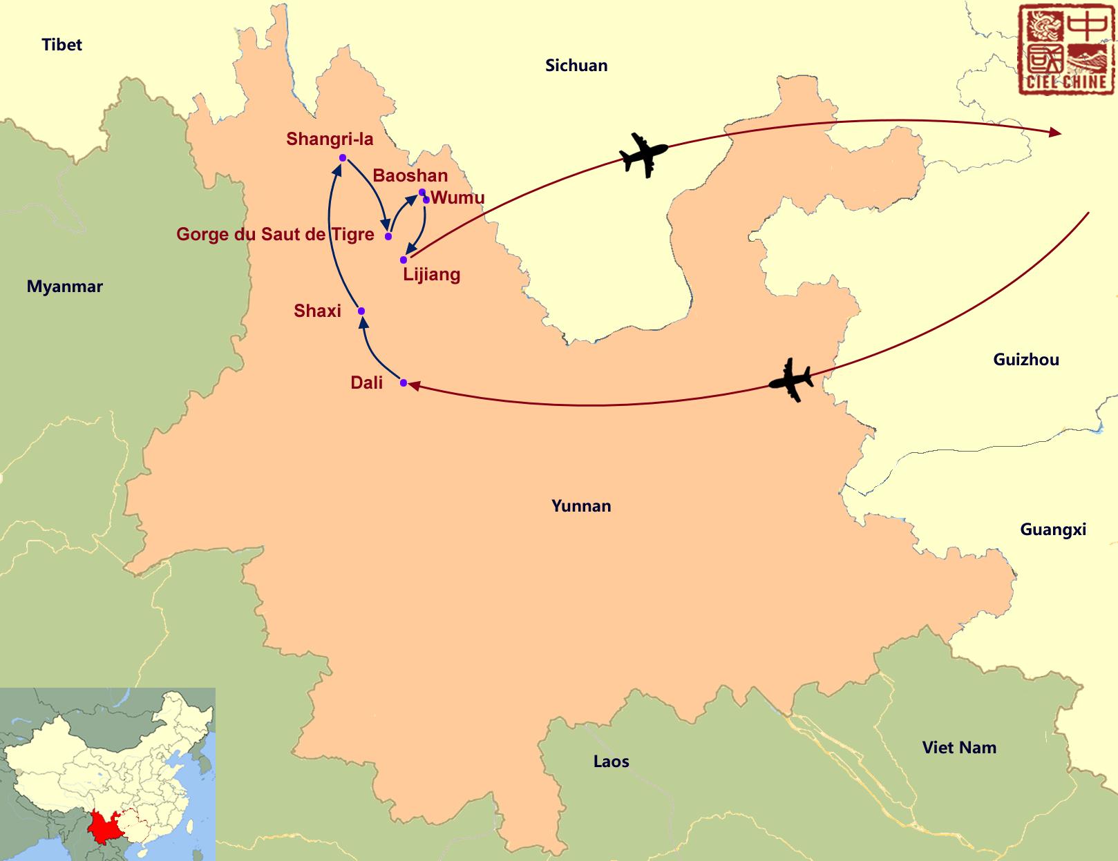 La carte du circuit des incontournables du nord Yunnan